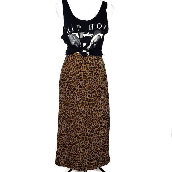 Vintage Dresses & Skirts - Vintage Briggs Petite Leopard Print Skirt Size 8P